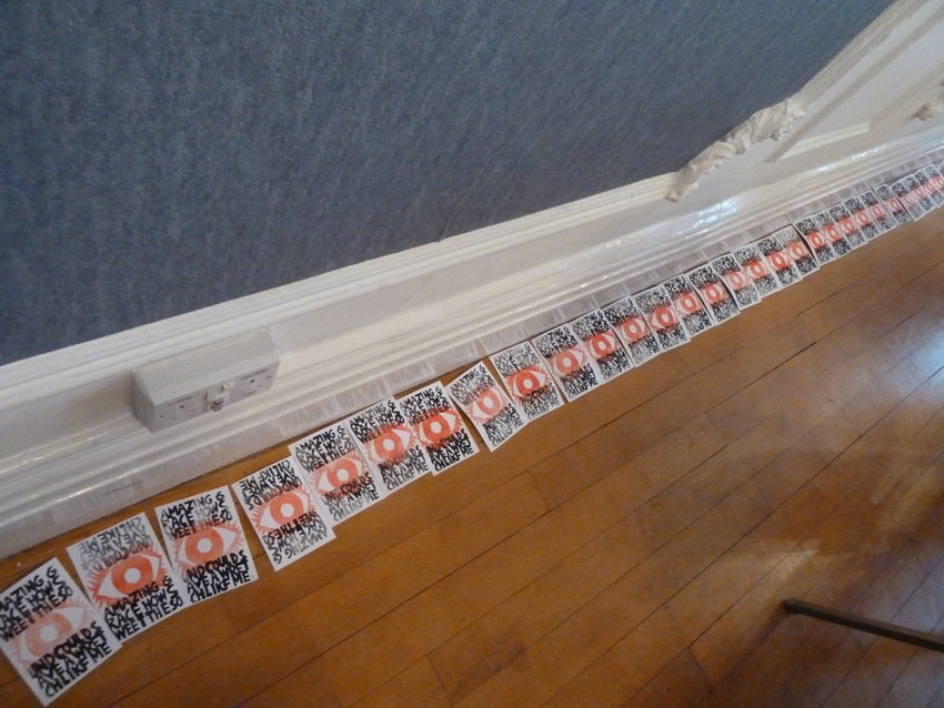 Utilising all space in The Grand Ballroom, John Bently's stamps drying