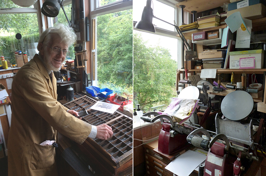 Leonard McDermid in his Stichill Marigold Press studio. Photos: Jean McDermid & Angie Butler.