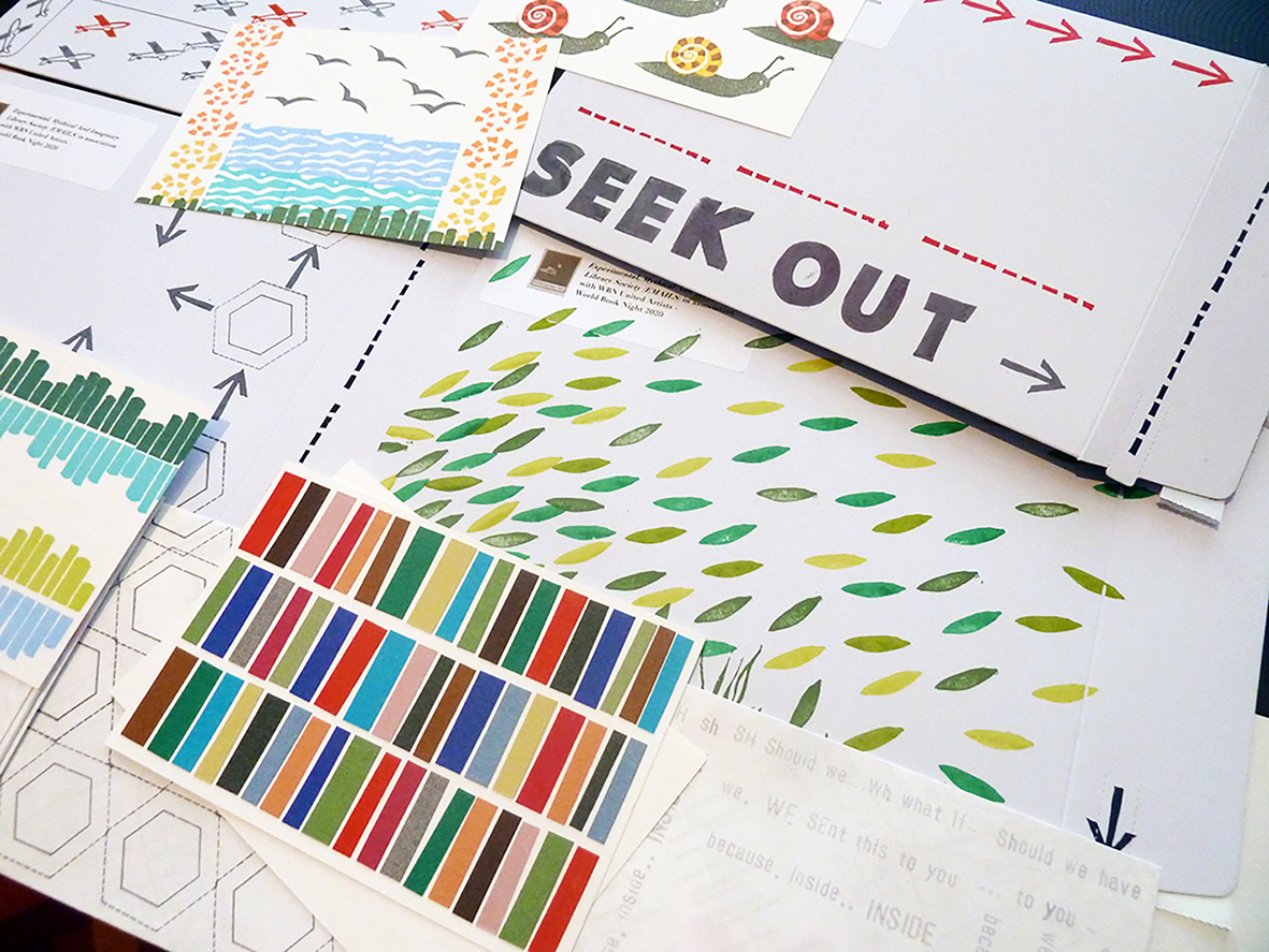 Rubber stamped WBN envelopes by Cathey Webb