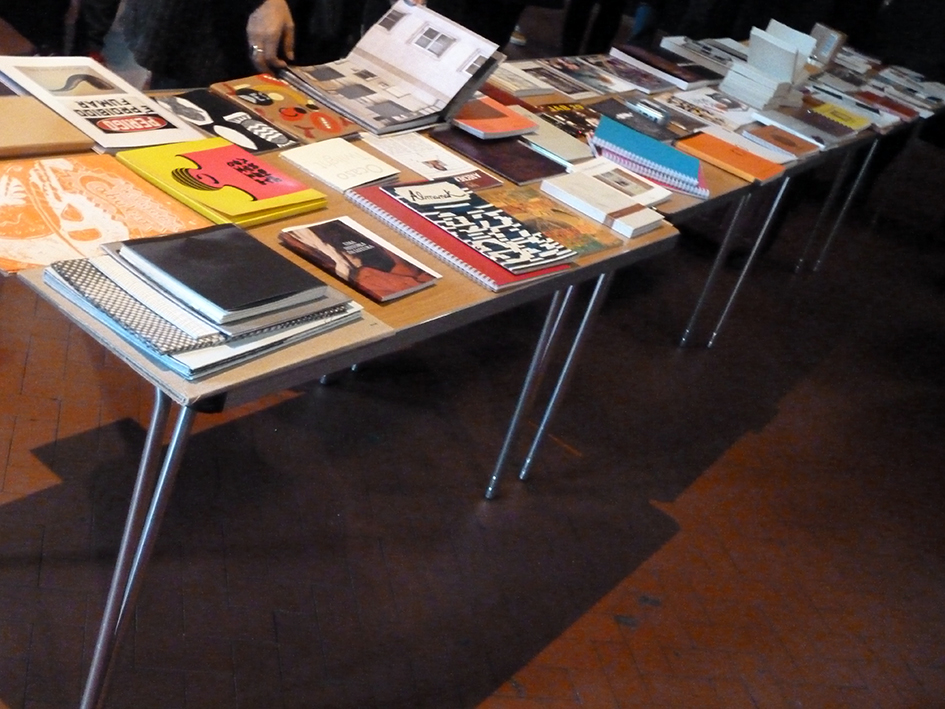 Artists' books on the table